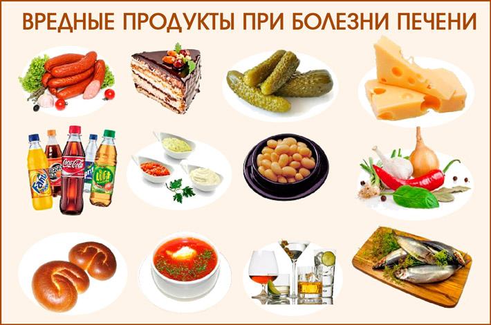 Запрещено употреблять еду при больной печени