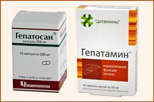 Препараты Гепатамин и Гепатосан