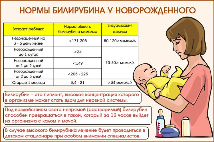 Норма билирубина у новорожденных