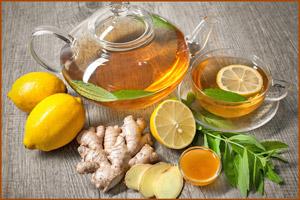 Чай с лимоном при температуре