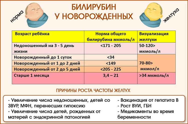 Нормы билирубина у детей