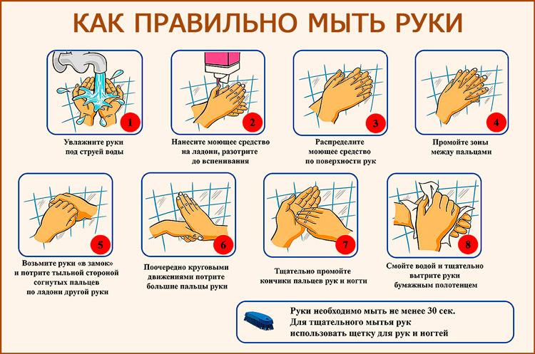 Правильное мытье рук при вирусной инфекции